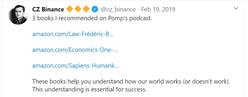 CZ talks about 3 books in his podcast with pomp